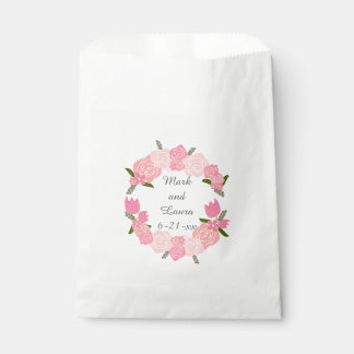 Pink Roses, Tulips, Flowers Wreath Wedding Favors Favour Bag