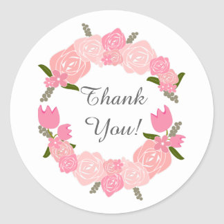 Pink Roses, Tulips, Flowers Wreath Wedding Favors Round Sticker