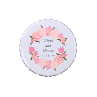 Pink Roses, Tulips, Flowers Wreath Wedding Favours Candy Tin