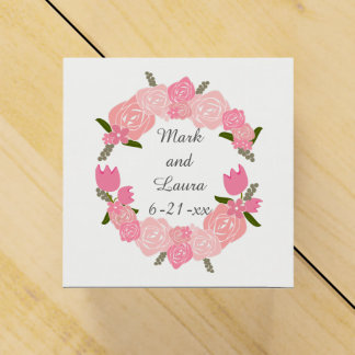 Pink Roses, Tulips, Flowers Wreath Wedding Favours Favour Boxes