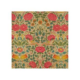 Pink Roses Vintage Chintz Pattern Wood Wall Art