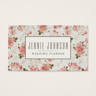 Pink Roses Vintage Floral Pattern Business Card