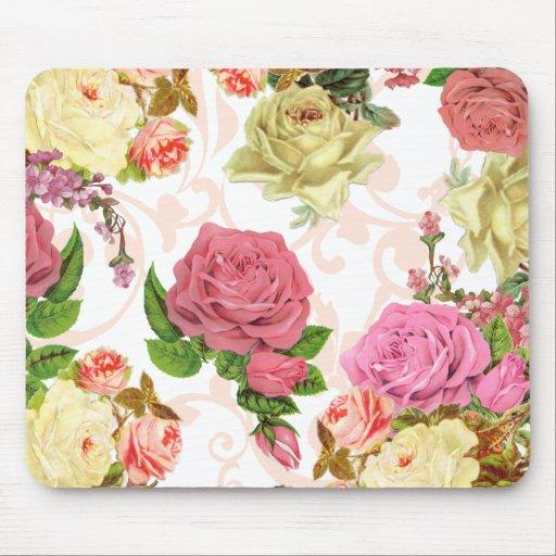 Pink roses vintage floral pattern mousepad