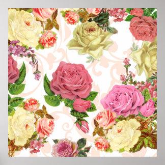 Pink roses vintage floral pattern print