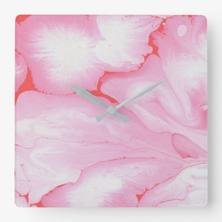 Pink roses, water, texture design, marbling paper, wall clock
