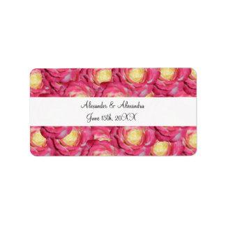 Pink roses wedding favors address label