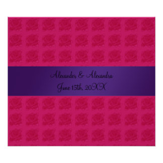 Pink roses wedding favors posters