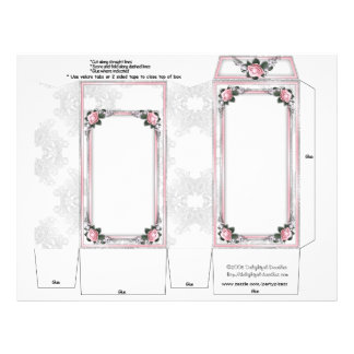 Pink Roses Wedding Pinch Box Party Favors Flyers
