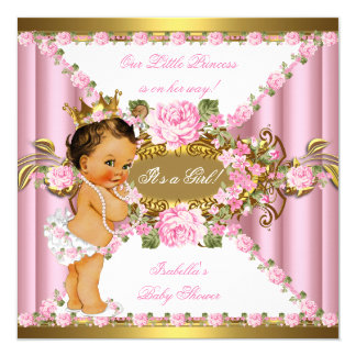 pink roses white gold princess baby shower br2 13 cm x 13 cm square