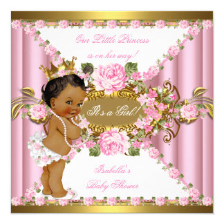 Pink Roses White Gold Princess Baby Shower Ethnic Card