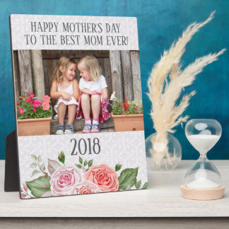Pink Roses White Lace Photo Mother's Day Plaque