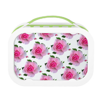 Pink Roses White Lunch Box