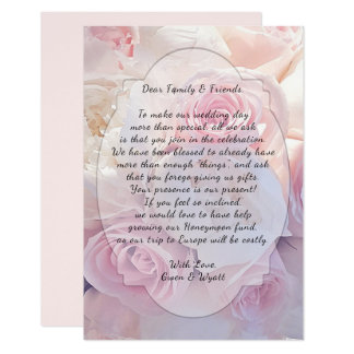 Pink Roses Wishing Well Wording Wedding Cards