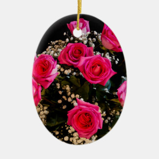 Pink Roses With All My Love Ceramic Ornament