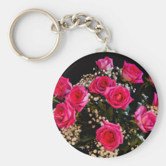Pink Roses With All My Love Key Ring
