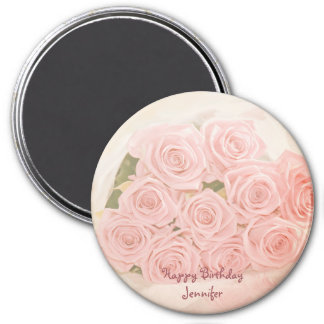 Pink roses with birhday text 7.5 cm round magnet
