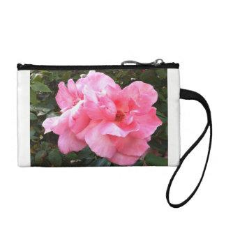 Pink roses wristlet purse