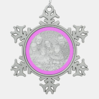 Pink Round Border Snowflake Pewter Christmas Ornament