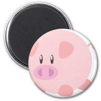 Pink Round Pig Refrigerator Magnet