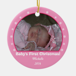 Pink Round Snowflake Christmas Ornament