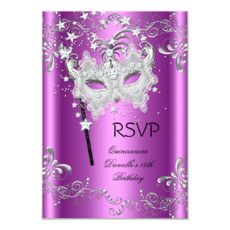 Pink RSVP Quinceanera 15th Party Masquerade 9 Cm X 13 Cm Invitation Card