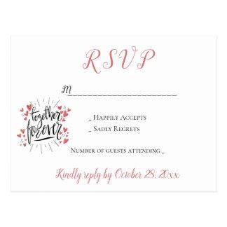 Pink RSVP Together Forever Hearts Wedding Party Postcard
