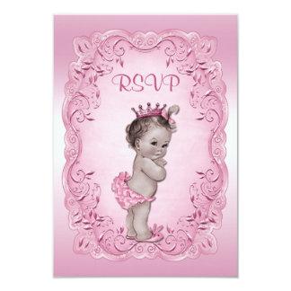 Pink RSVP Vintage Princess Baby Shower 9 Cm X 13 Cm Invitation Card