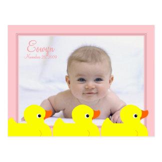 Pink Rubber Ducky Frame Postcard