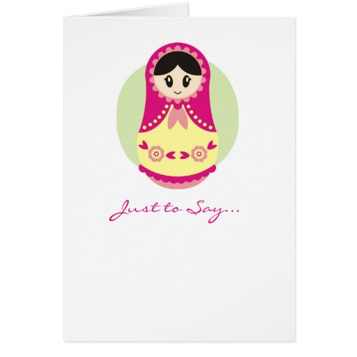 Pink Russian Doll Notecard Greeting Cards