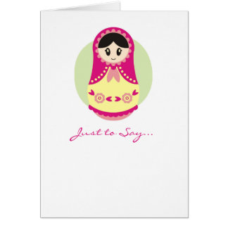 Pink Russian Doll Notecard Note Card