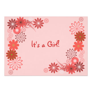 Pink Rust Rose Floral Baby Shower Invitation