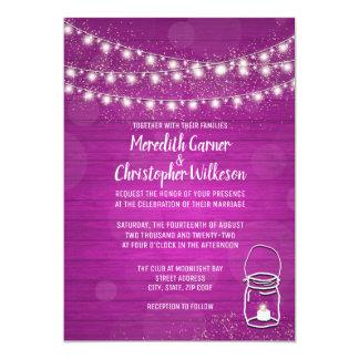 Pink Rustic Mason Jar String Lights Wood Wedding Card