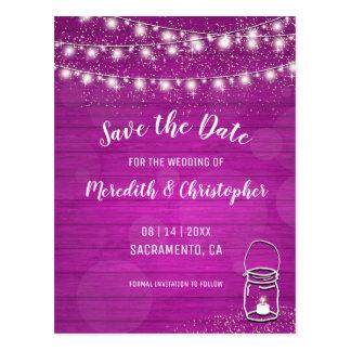 Pink Rustic Wood String Lights Mason Jar Wedding Postcard