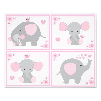 Pink Safari Elephant Girl Nursery Wall Art Prints
