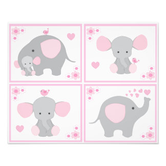 Pink Safari Elephant Girl Nursery Wall Art Prints Photographic Print
