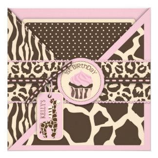 Pink Safari Giraffe Cupcake First Birthday Custom Invitation