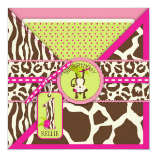 Pink Safari Jungle Monkey First Birthday 13 Cm X 13 Cm Square Invitation Card
