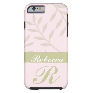 Pink, Sage Personalized Leaf Pattern iPhone 6 case