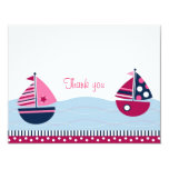 Pink Sailboat Girls Nautical Thank You Note Cards 11 Cm X 14 Cm Invitation Card