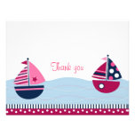 Pink Sailboat Girls Nautical Thank You Note Cards Personalised Invite