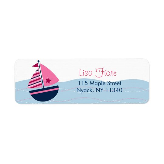 Pink Sailboat Nautical Address Labels