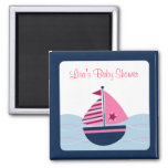 Pink Sailboat Nautical Party Favour Magnets