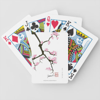 pink sakura and birds, tony fernandes bicycle playing cards