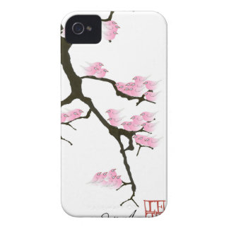 pink sakura and birds, tony fernandes Case-Mate iPhone 4 cases