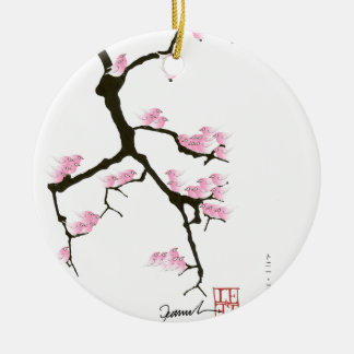 pink sakura and birds, tony fernandes ceramic ornament