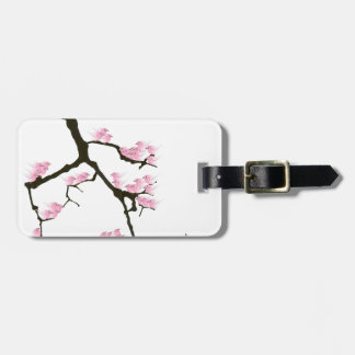 pink sakura and birds, tony fernandes luggage tag