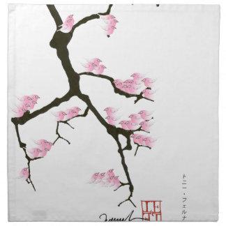 pink sakura and birds, tony fernandes napkin