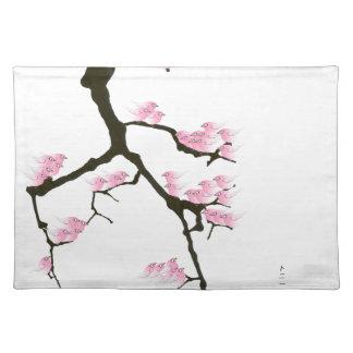 pink sakura and birds, tony fernandes placemat