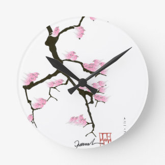 pink sakura and birds, tony fernandes round clock