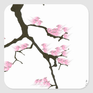 pink sakura and birds, tony fernandes square sticker